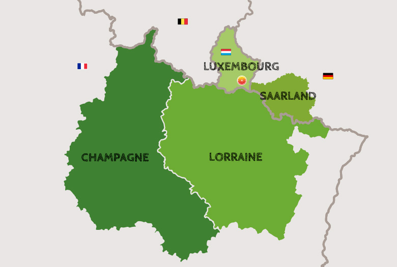 Map of the Greater Region (Champagne, Lorraine, Saarland, Luxembourg)