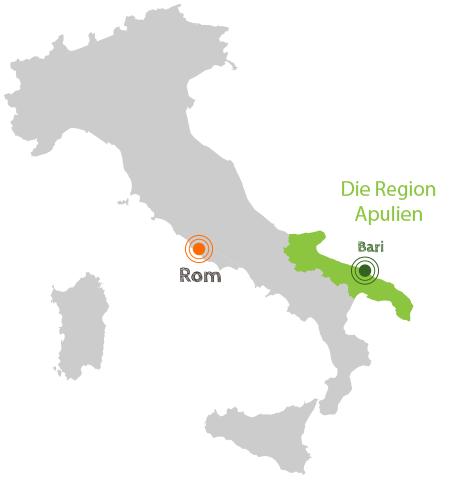 Karte von Italien mit der Region Apulien.